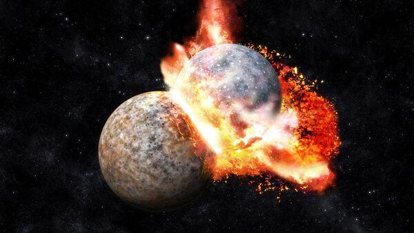 Καλλιτεχνική αναπαράσταση της σύγκρουσης που δημιούργησε τη Σελήνη - Sputnik Ελλάδα