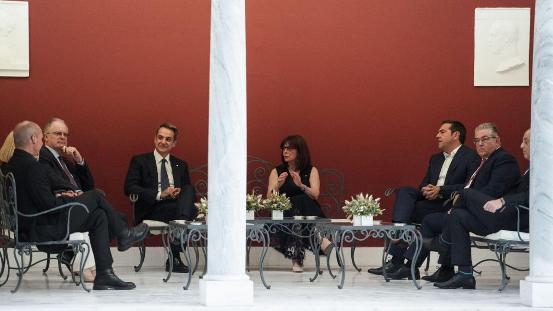 Η Πρόεδρος της Δημοκρατίας και οι πολιτικοί αρχηγοί στη δεξίωση για την 46η επέτειο Αποκατάστασης της Δημοκρατίας, 24 Ιουλίου 2020 - Sputnik Ελλάδα, 1920, 11.10.2021