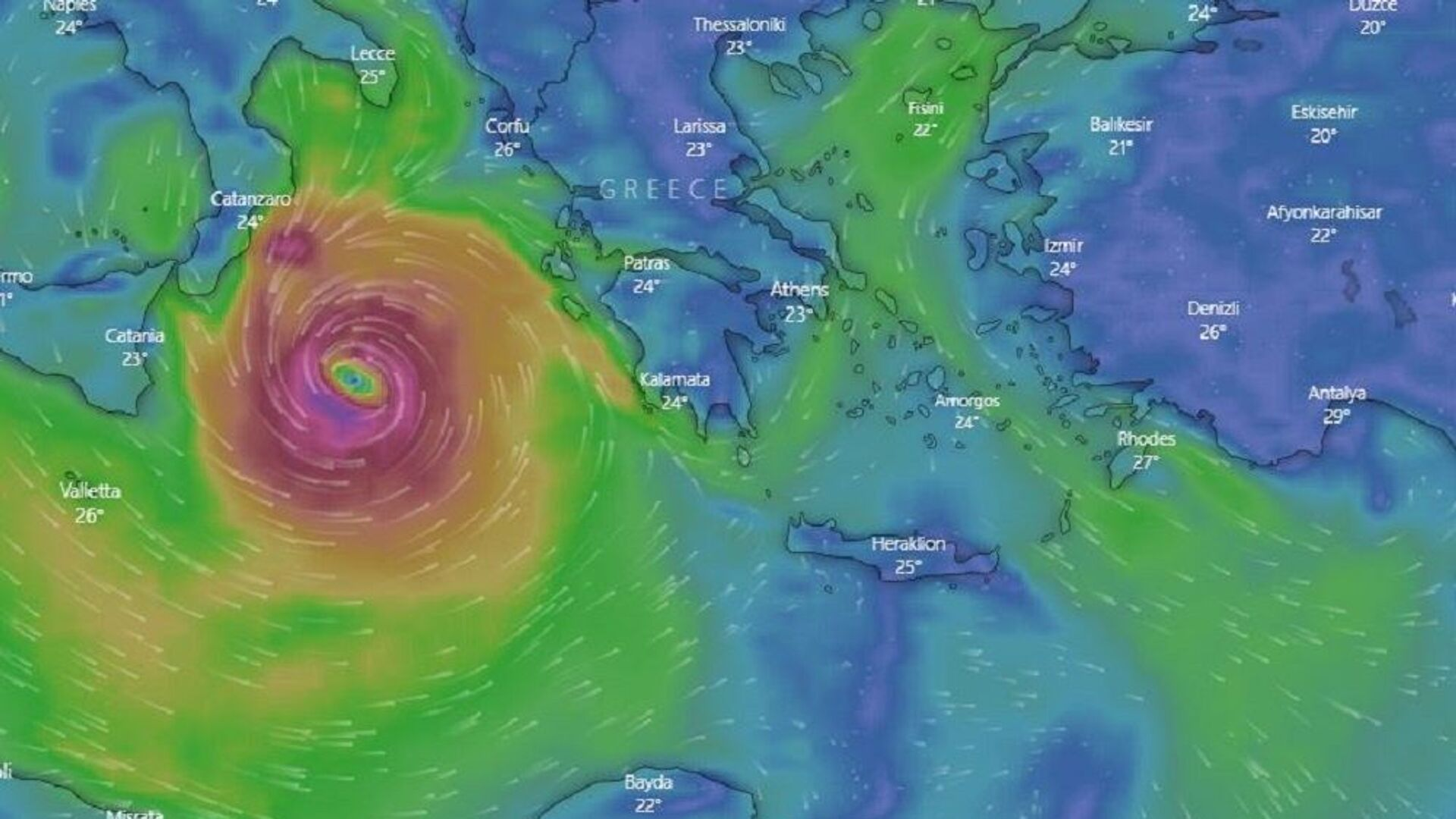 Κακοκαιρία Ιανός: Η πορεία του μεσογειακού κυκλώνα, Σεπτέμβριος 2020 - Sputnik Ελλάδα, 1920, 04.10.2021