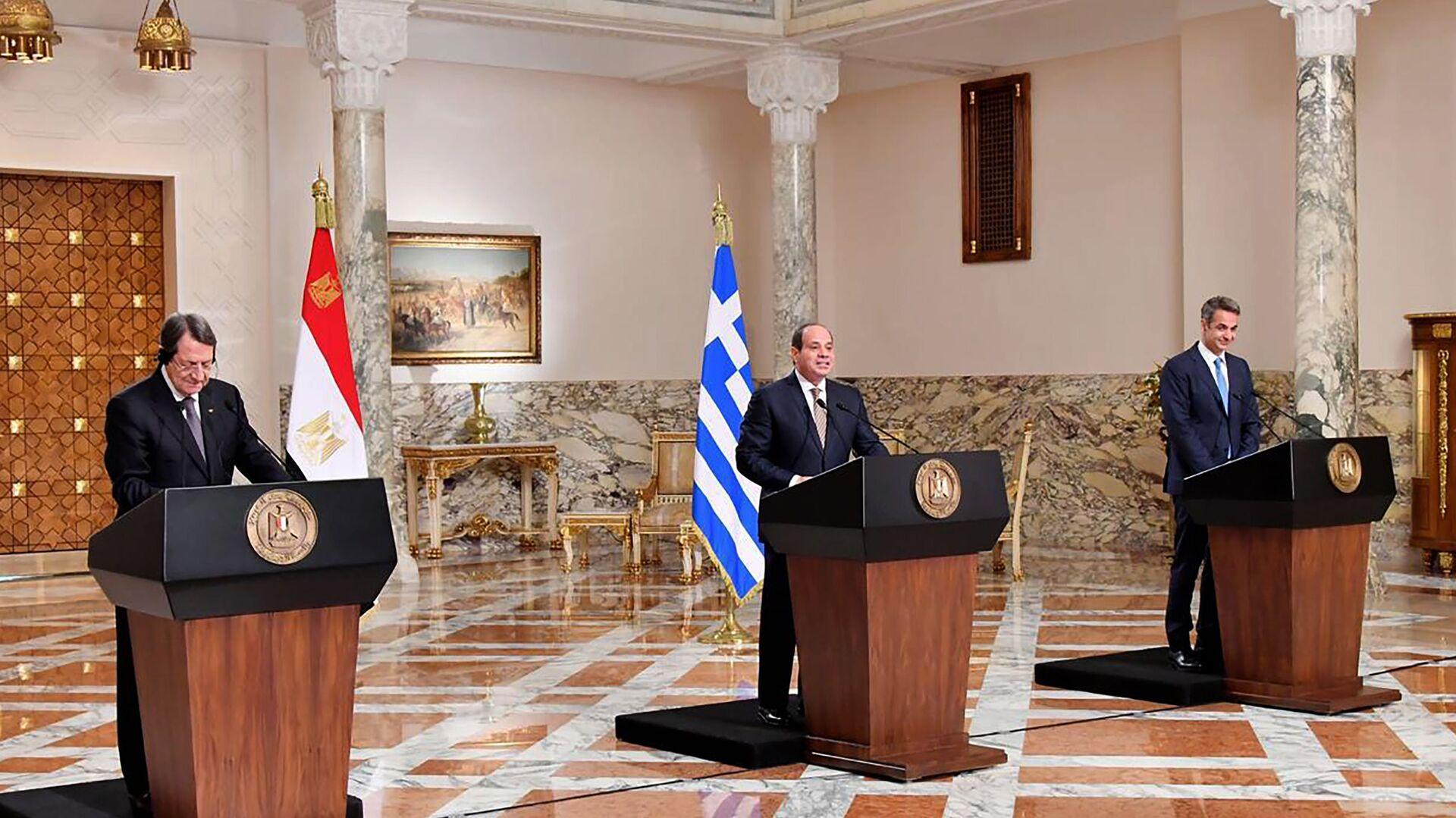 Συνέντευξη Τύπου μετά την Τριμερή Ελλάδας – Κύπρου – Αιγύπτου    - Sputnik Ελλάδα, 1920, 14.10.2021