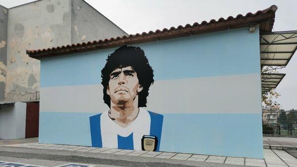Το γκράφιτι του Μαραντόνα σε σχολείο στην Καλαμαριά - Sputnik Ελλάδα