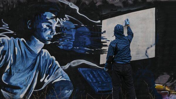 Γκράφιτι για τον κορονοϊό στην Αθήνα - Sputnik Ελλάδα