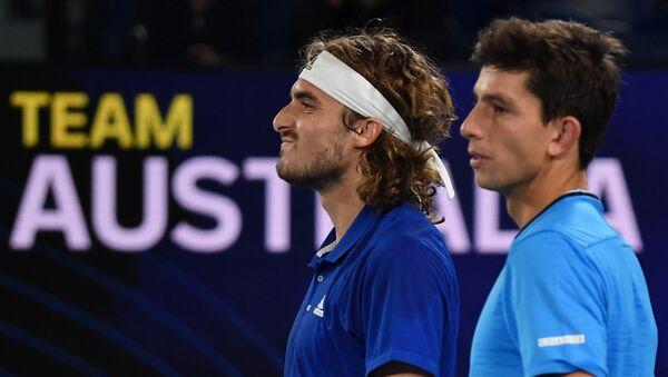 Στέφανος Τσιτσιπάς και Μιχάλης Περβολαράκης στο ATP Cup - Sputnik Ελλάδα