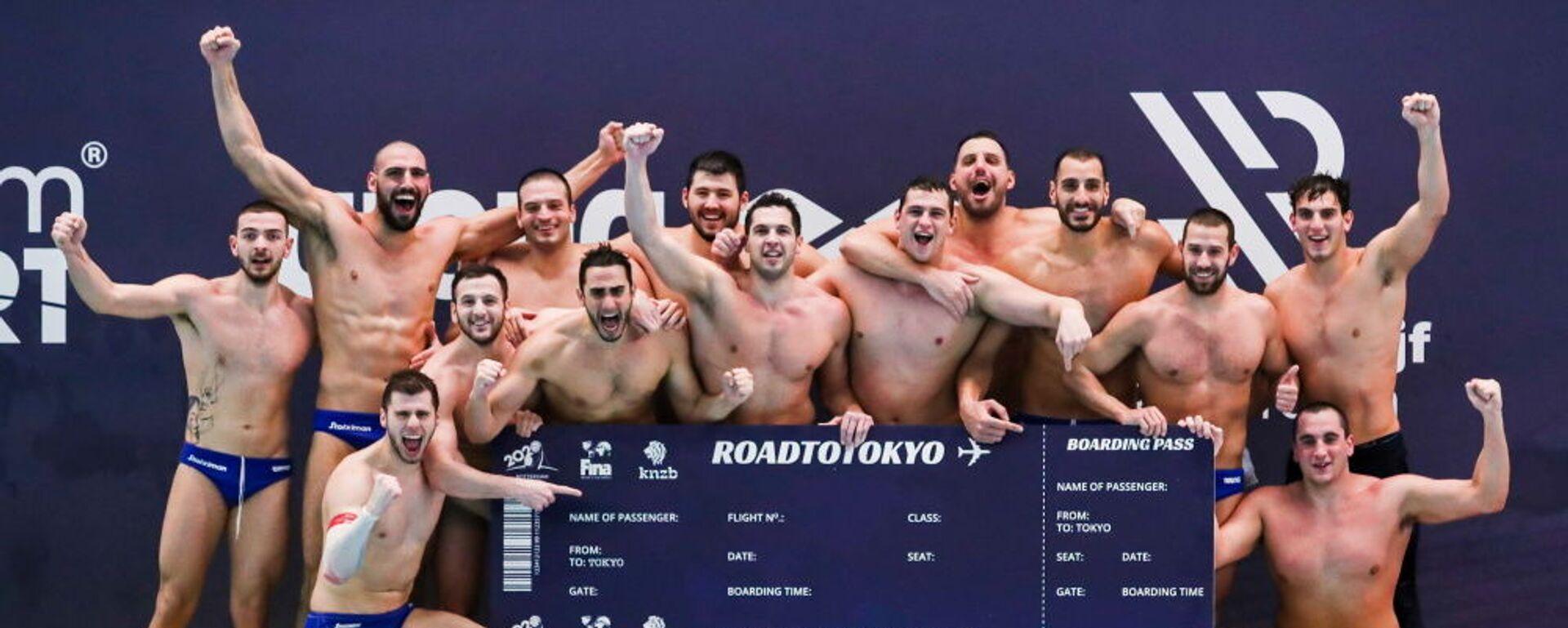 Πανηγυρισμοί της Εθνικής Ομάδας πόλο ανδρών για την πρόκριση στους Ολυμπιακούς Αγώνες του Τόκιο, 20 Φεβρουαρίου 2021 - Sputnik Ελλάδα, 1920, 05.08.2021
