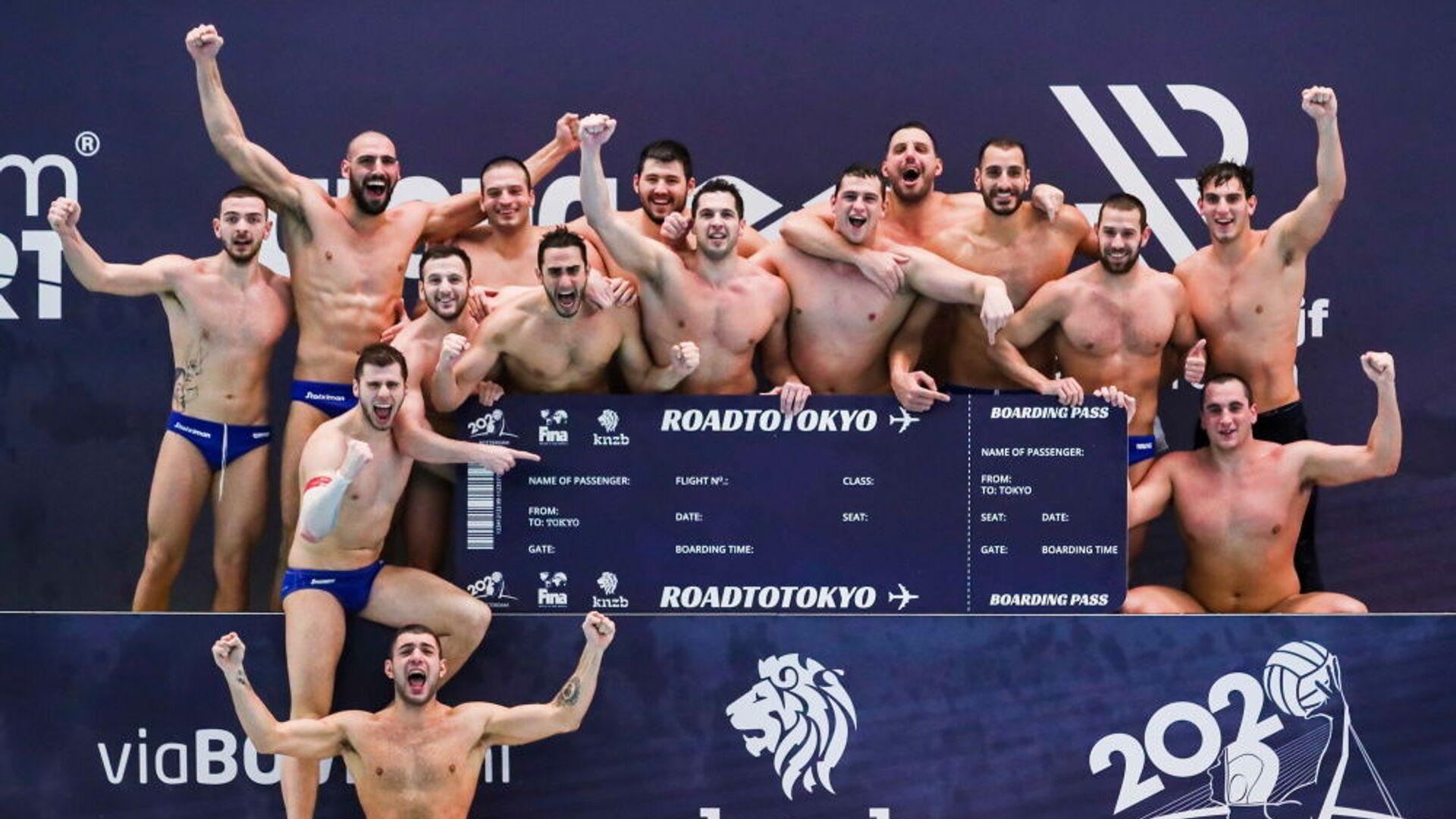 Πανηγυρισμοί της Εθνικής Ομάδας πόλο ανδρών για την πρόκριση στους Ολυμπιακούς Αγώνες του Τόκιο, 20 Φεβρουαρίου 2021 - Sputnik Ελλάδα, 1920, 04.08.2021