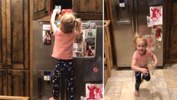 Απίθανη μικρούλα σκαρφαλώνει στο ψυγείο να βρει τα κρυμμένα μπισκότα στο ντουλάπι - Sputnik Ελλάδα
