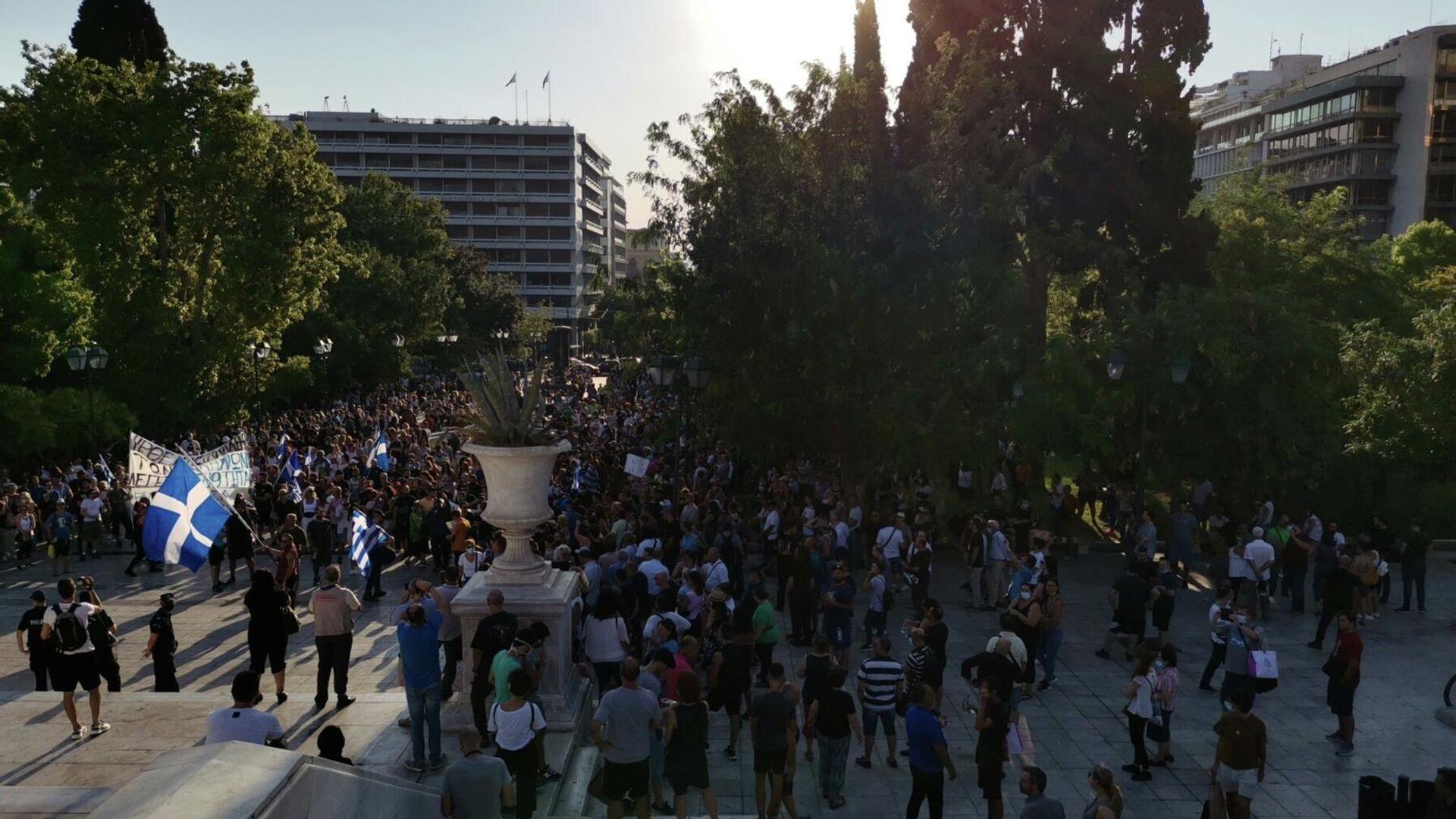 Διαμαρτυρία στην Αθήνα από αντιεμβολιαστές - Sputnik Ελλάδα, 1920, 25.09.2021