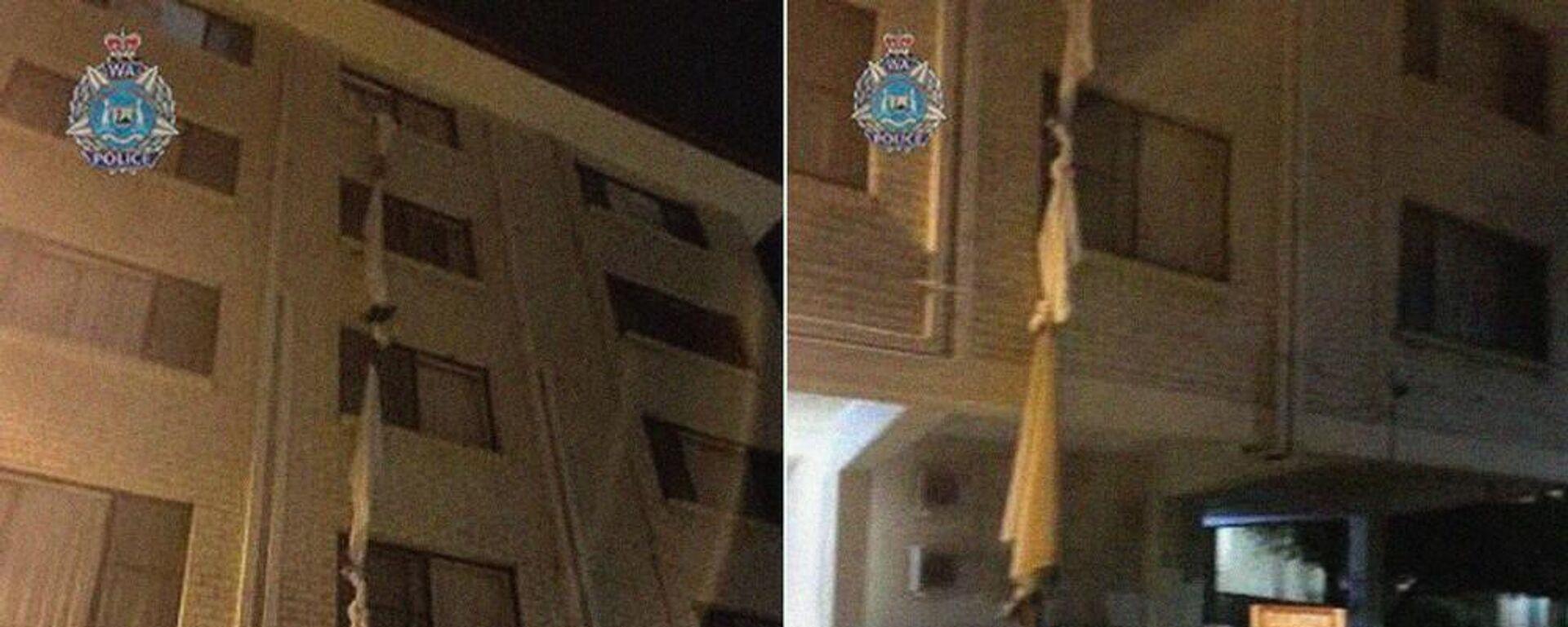 Άντρας έφτιαξε σκοινί από σεντόνια για να το σκάσει από ξενοδοχείο καραντίνας - Sputnik Ελλάδα, 1920, 21.07.2021