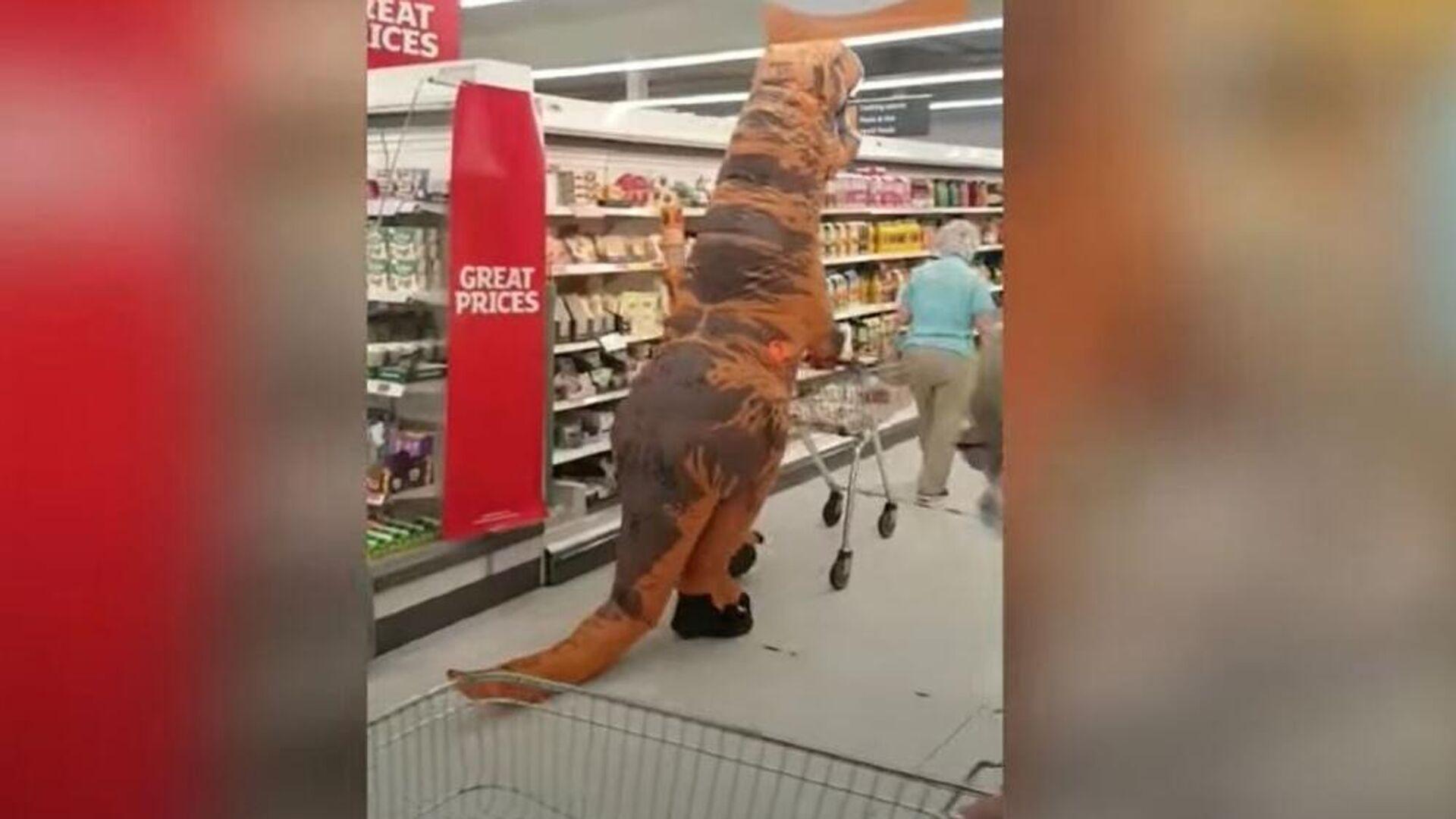 Τρελάρας εγγονός πάει σούπερ μάρκετ με τη γιαγιά του ντυμένος δεινόσαυρος για την κάνει να χαρεί - Sputnik Ελλάδα, 1920, 24.07.2021