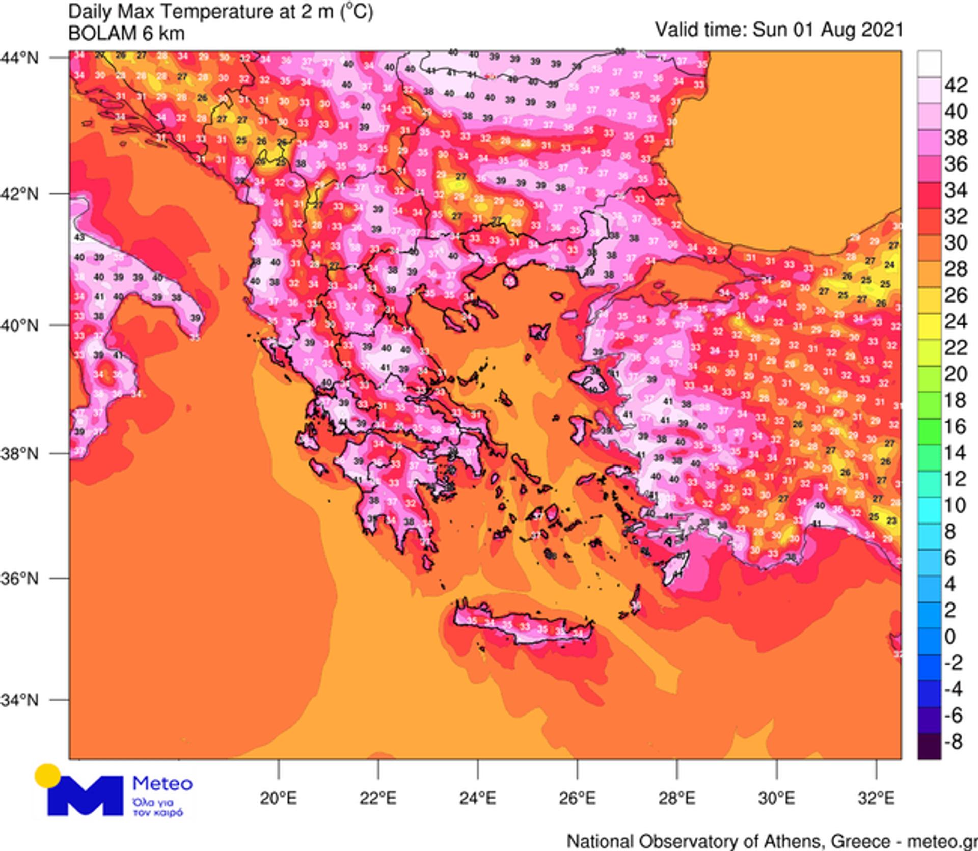 Χάρτης: Καύσωνας σήμερα Κυριακή (1/8) - Sputnik Ελλάδα, 1920, 01.08.2021