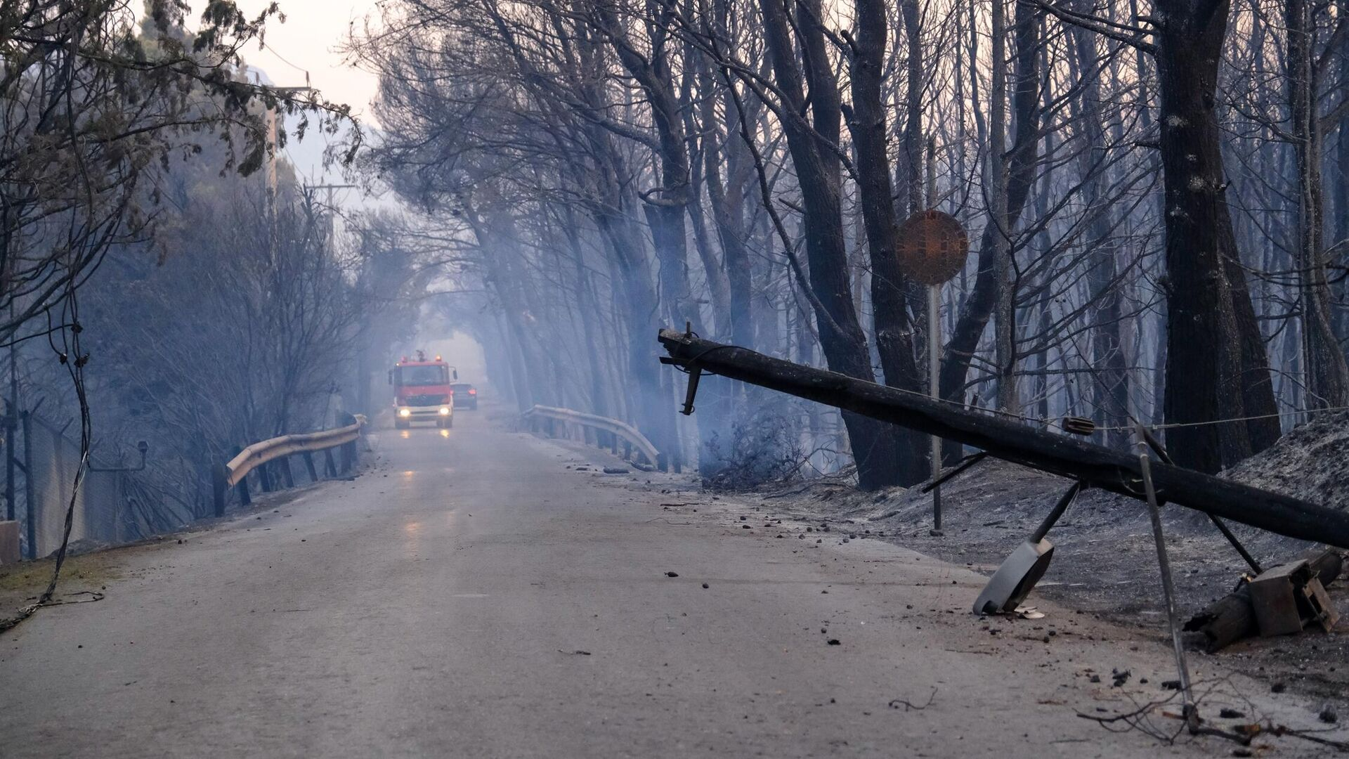Η επόμενη μέρα της πυρκαγιάς στην περιοχή της Βαρυμπόμπης Αττικής, 4 Αυγούστου 2021 - Sputnik Ελλάδα, 1920, 04.08.2021