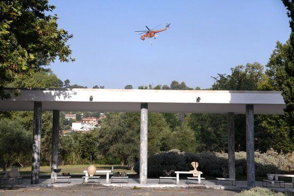Μάχη για να μην επεκταθεί η φωτιά στον αρχαιολογικό χώρο της Αρχαίας Ολυμπίας, το μουσείο και τις εγκαταστάσεις της Διεθνούς Ολυμπιακής Ακαδημίας  - Sputnik Ελλάδα