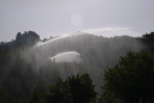 Οι δυνάμεις πυρόσβεσης επιχειρούν σε δασική περιοχή στην Αρχαία Ολυμπία - Sputnik Ελλάδα