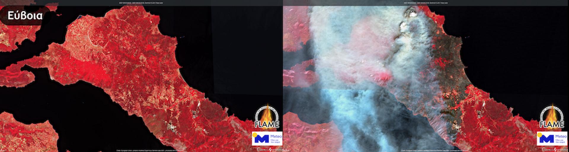 Δορυφορικές εικόνες από το πριν και το μετά της πύρινης λαίλαπας - Sputnik Ελλάδα, 1920, 09.08.2021
