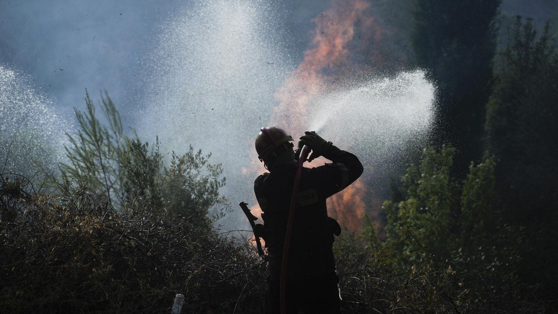 Πυροσβέστες και κάτοικοι προσπαθούν να ελέγξουν την πυρκαγιά έξω από το χωριό Νεοχώρι Γορτυνίας - Sputnik Ελλάδα, 1920, 12.08.2021