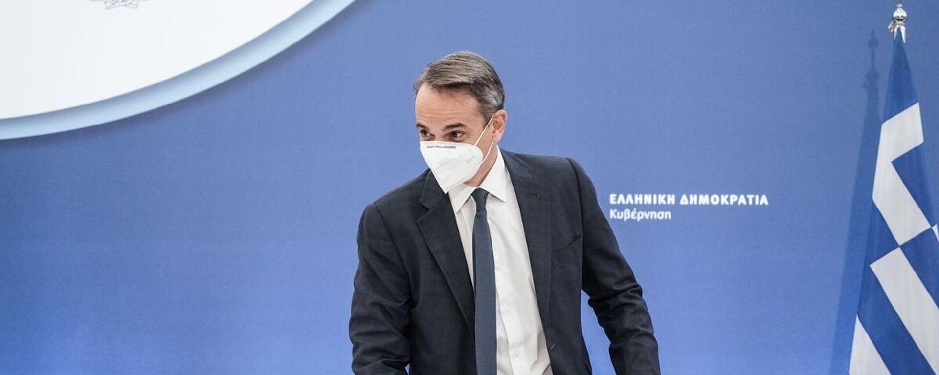Ο πρωθυπουργός Κυριάκος Μητσοτάκης παραχωρεί συνέντευξη Τύπου για τις εξελίξεις στο θέμα των πυρκαγιών - Sputnik Ελλάδα, 1920, 12.08.2021