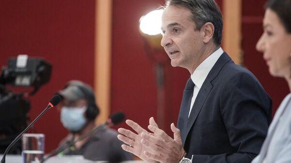Ο πρωθυπουργός Κυριάκος Μητσοτάκης παραχωρεί συνέντευξη Τύπου για τις εξελίξεις στο θέμα των πυρκαγιών - Sputnik Ελλάδα