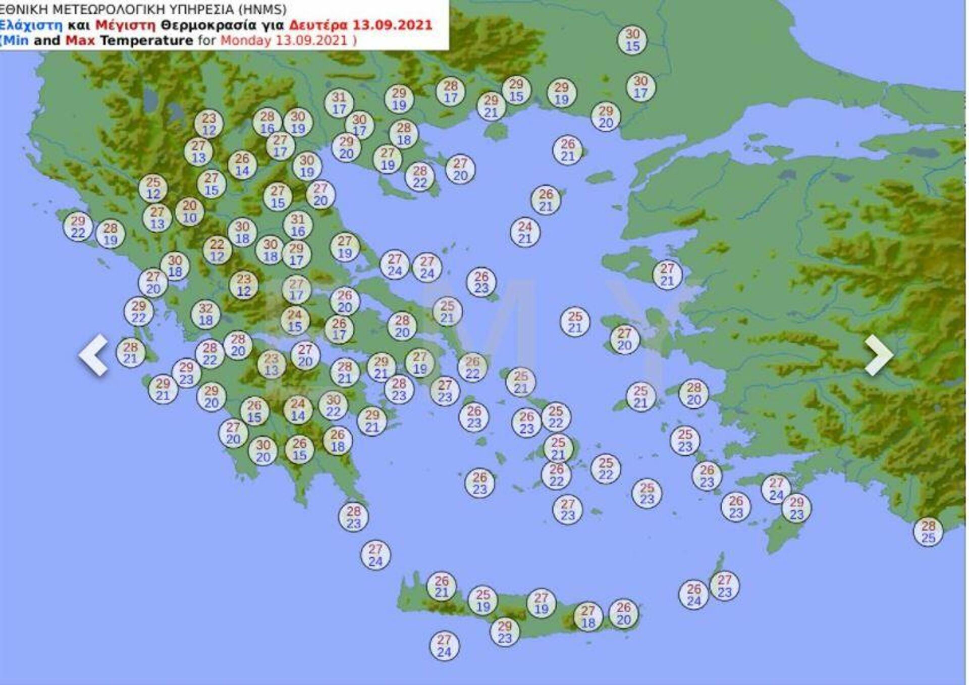 Ο καιρός σήμερα (13/9) - Sputnik Ελλάδα, 1920, 13.09.2021