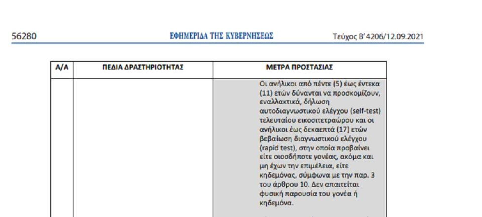 Τρέχον ΦΕΚ για παρουσία ανηλίκων στην εστίαση - Sputnik Ελλάδα, 1920, 13.09.2021