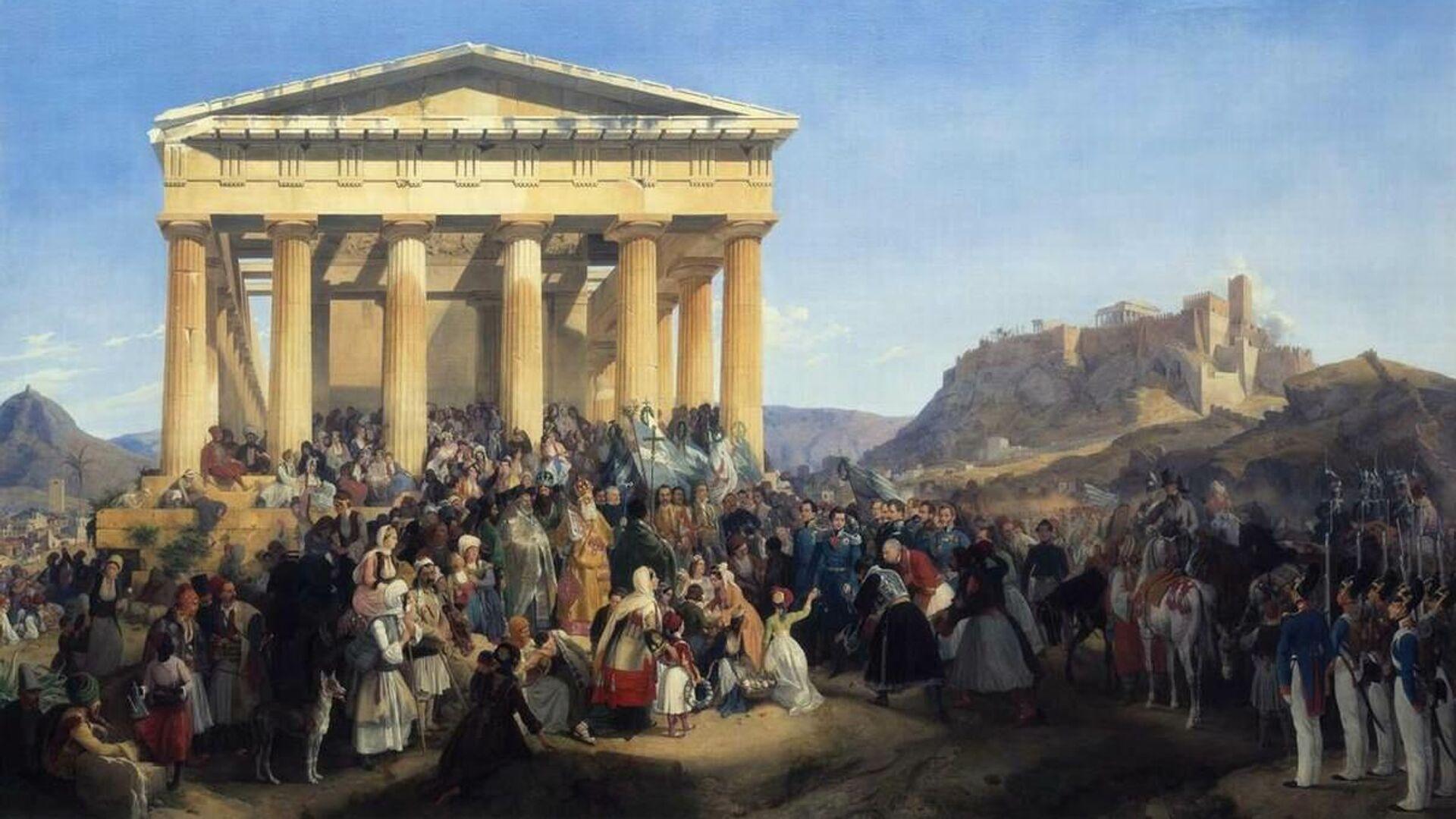 Η υποδοχή του βασιλιά Όθωνα στην Αθήνα. Θησείο, 1833. (Έργο του Peter von Hess, 1839) - Sputnik Ελλάδα, 1920, 19.09.2021