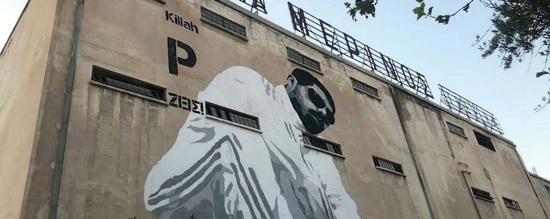 Η μορφή του Παύλου Φύσσα στο Εργοστάσιο Καχραμάνογλου, στο Κερατσίνι, όπου πραγματοποιήθηκαν οι εκδηλώσεις του αντιφασιστικού Σεπτέμβρη, στη μνήμη του δολοφονημένου ράπερ. - Sputnik Ελλάδα, 1920, 18.09.2021