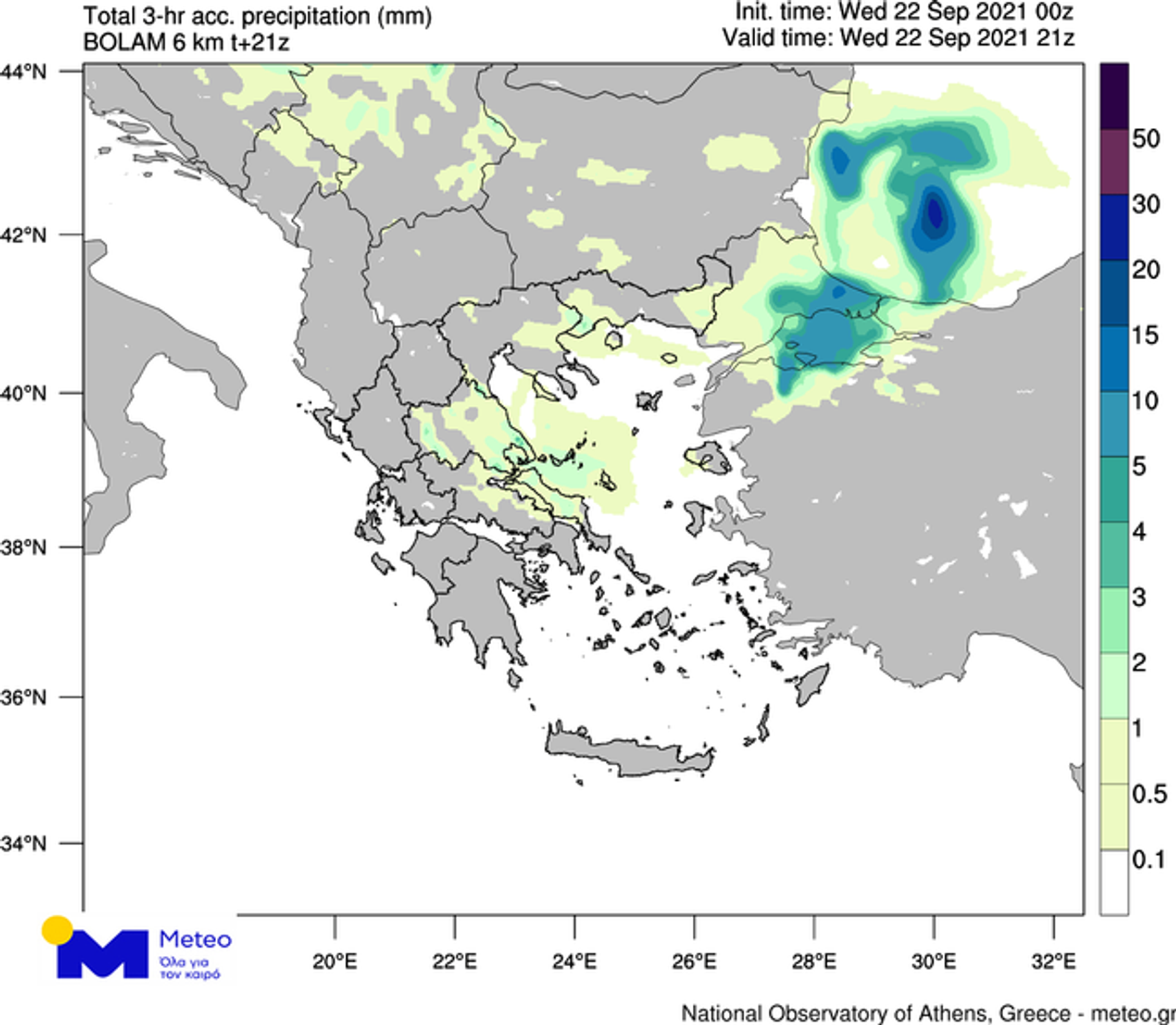 Εκτιμώμενα ύψη βροχής για τις βραδινές ώρες της Τετάρτης 22/09/2021 (21:00 – 00:00) - Sputnik Ελλάδα, 1920, 22.09.2021