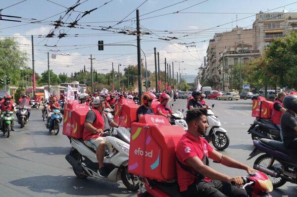 Μοτοπορεία ντελίβερι για την υπόθεση της efood - Sputnik Ελλάδα