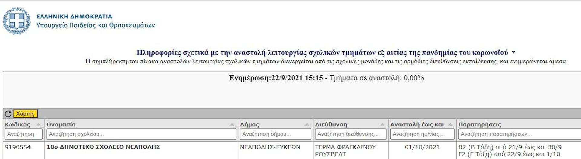Ιστοσελίδα του υπουργείου Παιδείας για τα σχολικά τμήματα που κλείνουν λόγω κρουσμάτων κορονοϊού  - Sputnik Ελλάδα, 1920, 22.09.2021