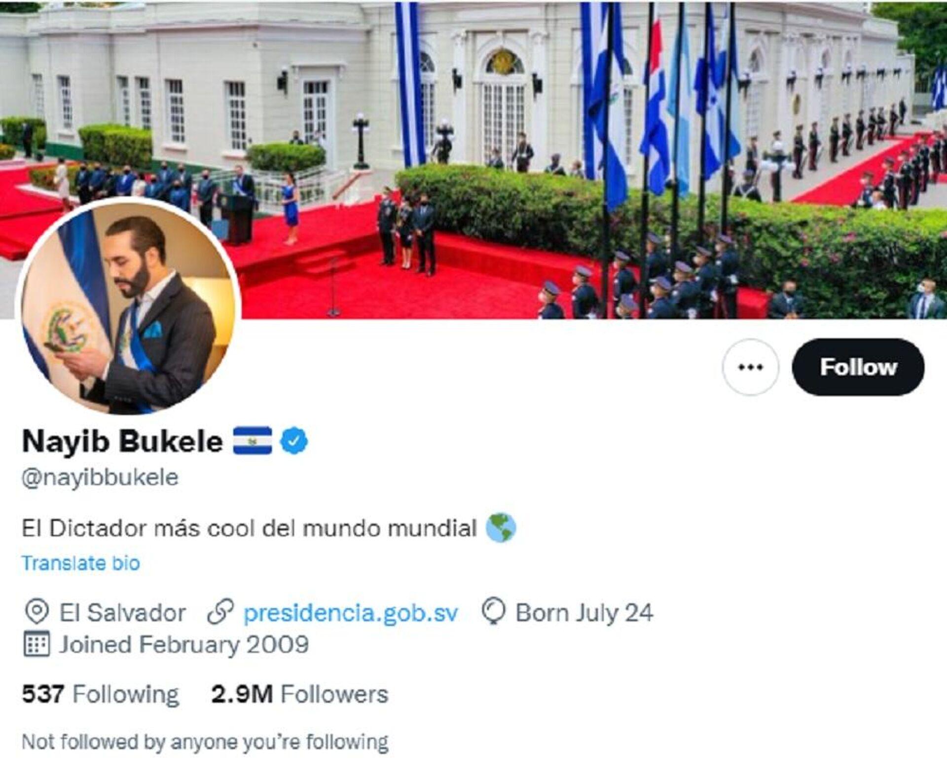 Το προφίλ του ηγέτη του Ελ Σαλβαδόρ, Ναγίμπ Μπουκέλε, στο Twitter - Sputnik Ελλάδα, 1920, 23.09.2021