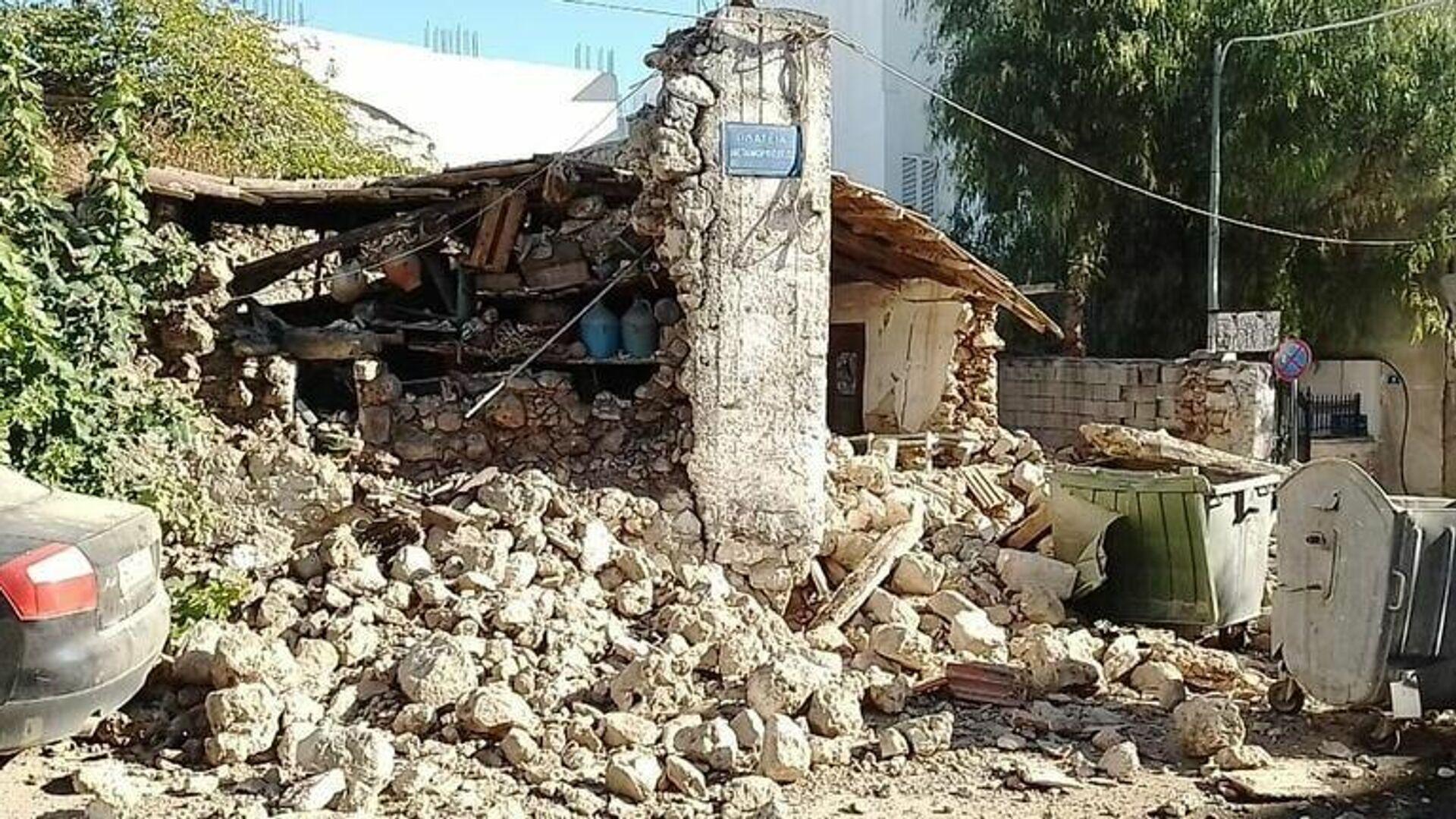 Ζημιές στο Αρκαλοχώρι από τον σεισμό στην Κρήτη - Sputnik Ελλάδα, 1920, 27.09.2021
