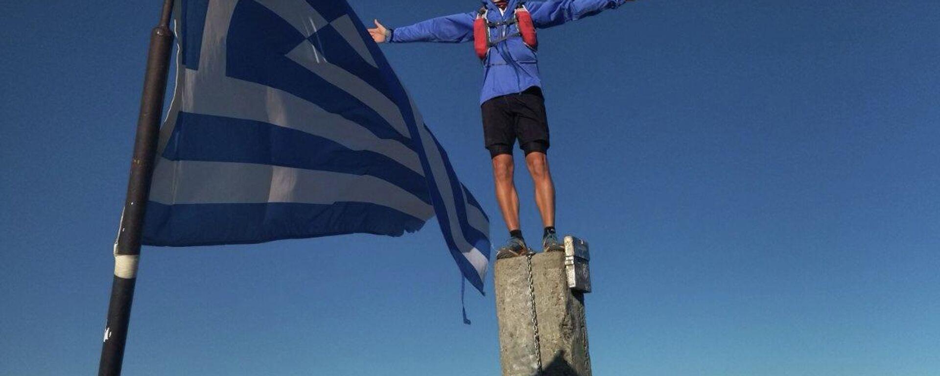 Στην κορυφή του Ολύμπου στον Μύτικα σε υψόμετρο 2.918 μέτρα ο Κώστας Πολύζος - Sputnik Ελλάδα, 1920, 28.09.2021