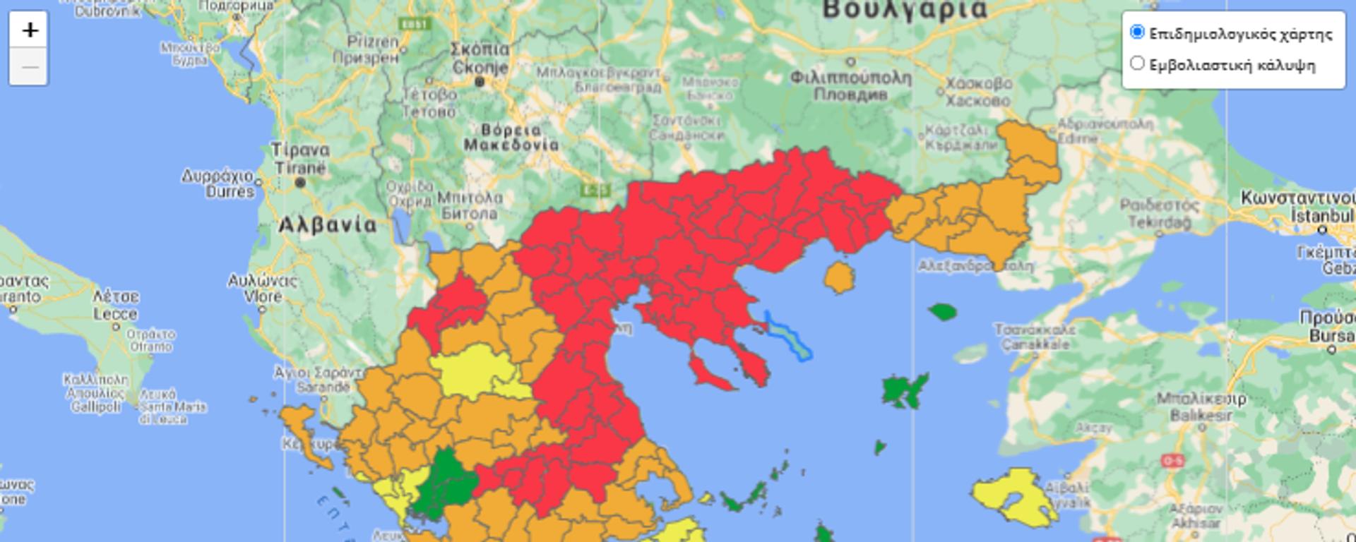 Επιδημιολογικός χάρτης 6 Οκτωβρίου - Sputnik Ελλάδα, 1920, 06.10.2021