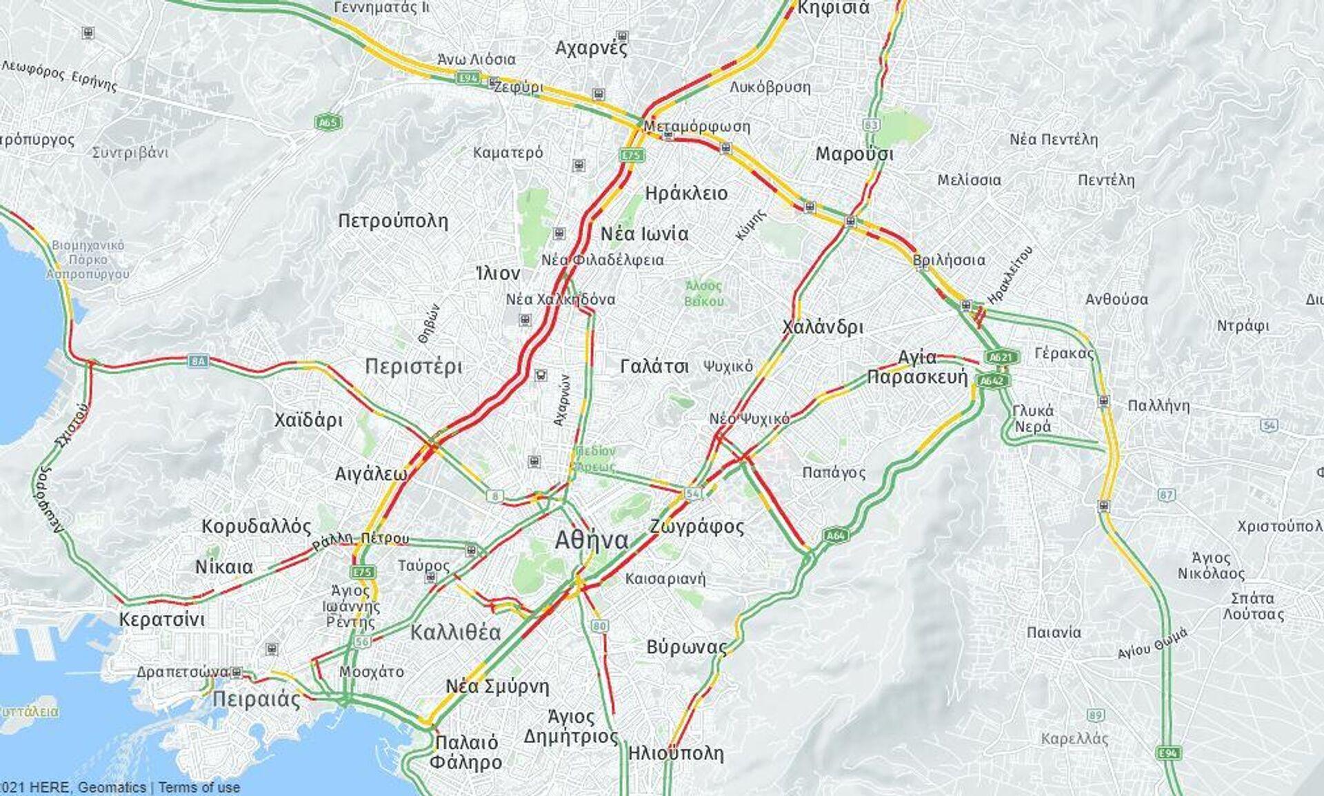 Κίνηση στους δρόμους (14/10 ώρα 08:30) - Sputnik Ελλάδα, 1920, 14.10.2021