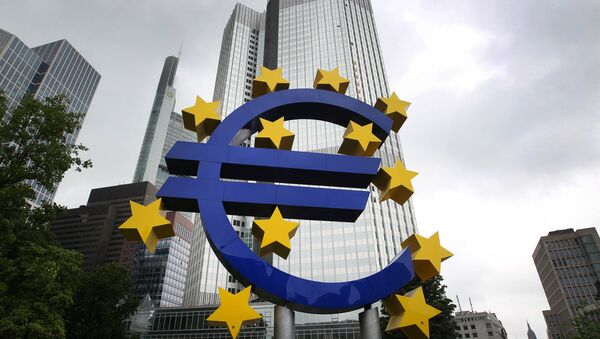 Το λογότυπο της Ευρωζώνης και του ευρώ στα πρώην γραφεία της ΕΚΤ στη Φρανκφούρτη - Sputnik Ελλάδα