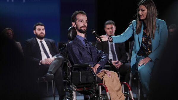 Ο Στέλιος Κυμπουρόπουλος κατά την παρουσίαση των υποψήφιων ευρωβουλευτών της ΝΔ στις 14 Απριλίου, 2019 - Sputnik Ελλάδα