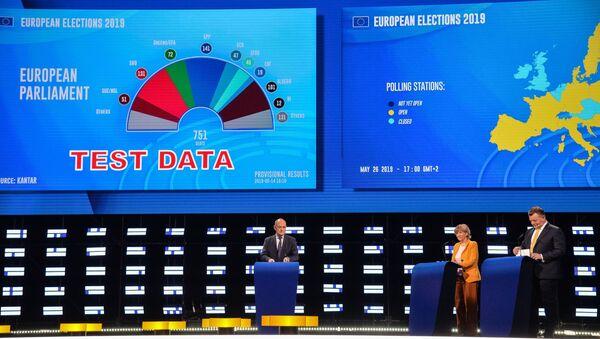 Στιγμιότυπο από τη νύχτα των ευρωεκλογών στο Ευρωπαϊκό Κοινοβούλιο - Sputnik Ελλάδα