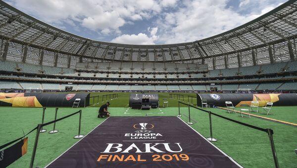 Ετοιμασίες στο Ολυμπιακό Στάδιο του Μπακού για τον τελικό του Europa League - Sputnik Ελλάδα
