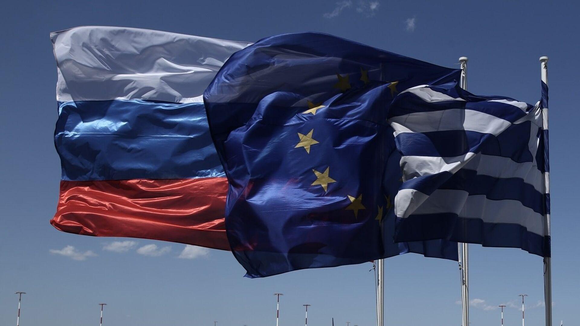 Σημαίες Ελλάδας, Ρωσίας και Ευρωπαϊκής Ένωσης - Sputnik Ελλάδα, 1920, 29.09.2021