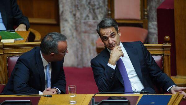 Ο Κυριάκος Μητσοτάκης και ο Χρήστος Σταϊκούρας.  - Sputnik Ελλάδα