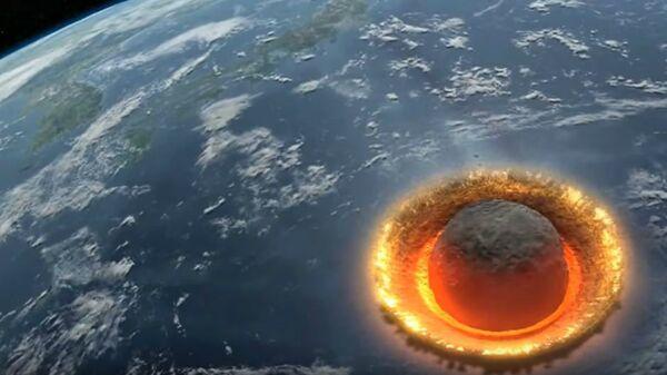 Αναπαράσταση σύγκρουσης μετεωρίτη με τη Γη - Sputnik Ελλάδα