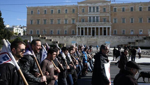 Απεργία και κινητοποιήσεις στο κέντρο της Αθήνας.  - Sputnik Ελλάδα