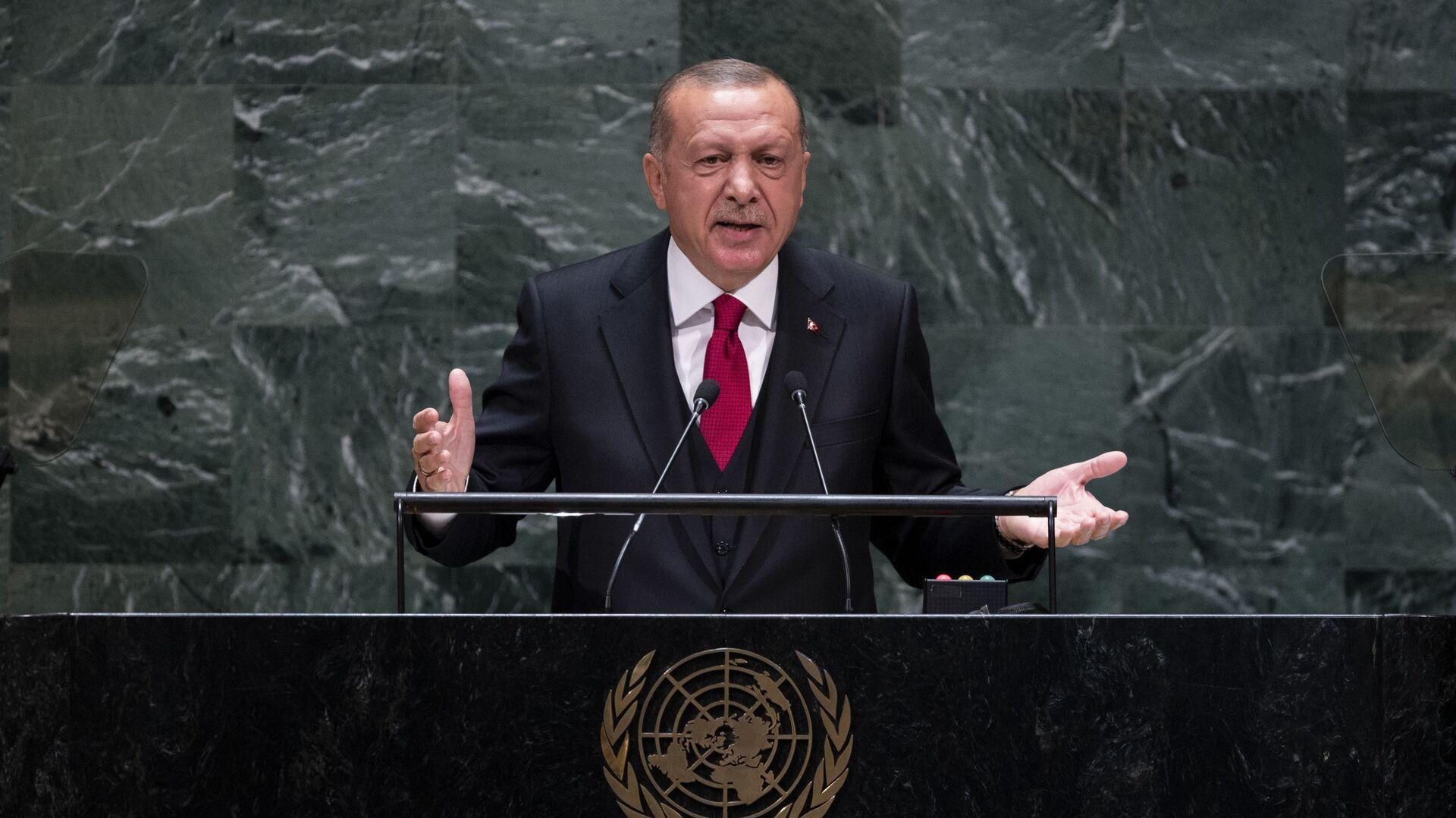 Ο Ερντογάν κατά την ομιλία του στον ΟΗΕ - Sputnik Ελλάδα, 1920, 21.09.2021
