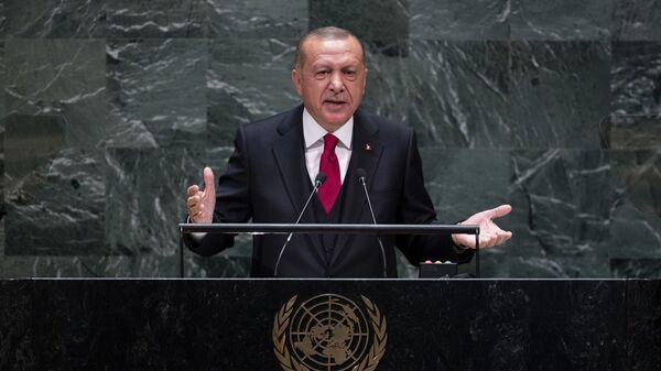 Ο Ερντογάν κατά την ομιλία του στον ΟΗΕ - Sputnik Ελλάδα