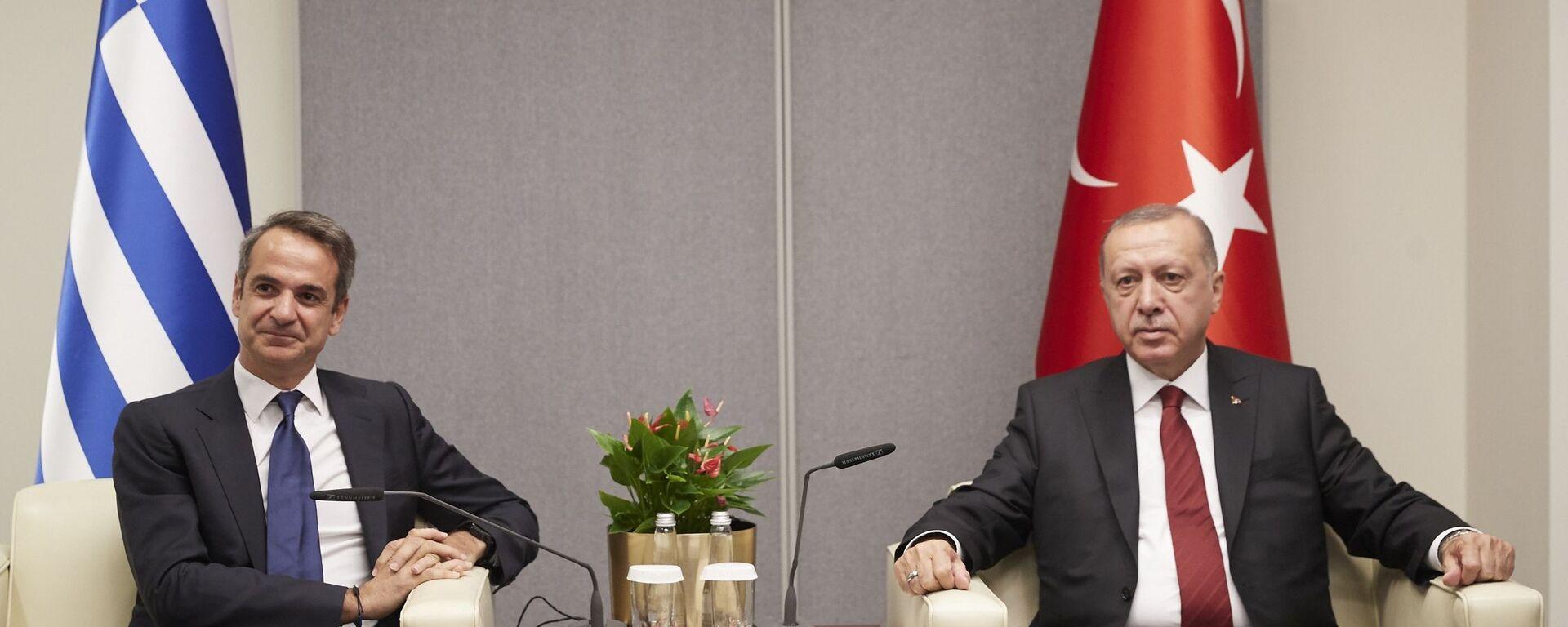Συνάντηση του Κυριάκου Μητσοτάκη με τον Ρετζέπ Ταγίπ Ερντογάν. - Sputnik Ελλάδα, 1920, 19.09.2021