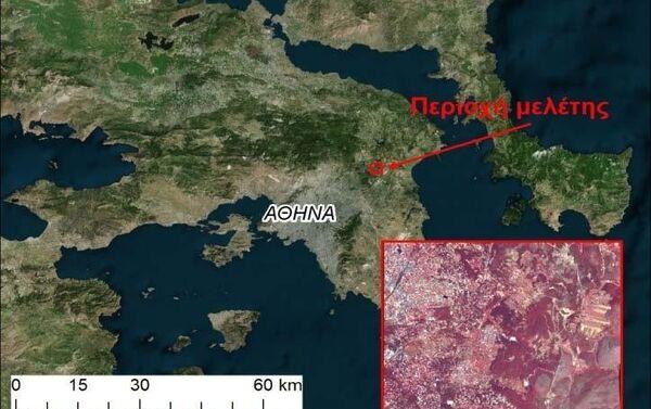 Η περιοχή μελέτης και η δορυφορική εικόνα πολύ υψηλής χωρικής ανάλυσης Quickbird που χρησιμοποιήθηκε στην έρευνα - Sputnik Ελλάδα