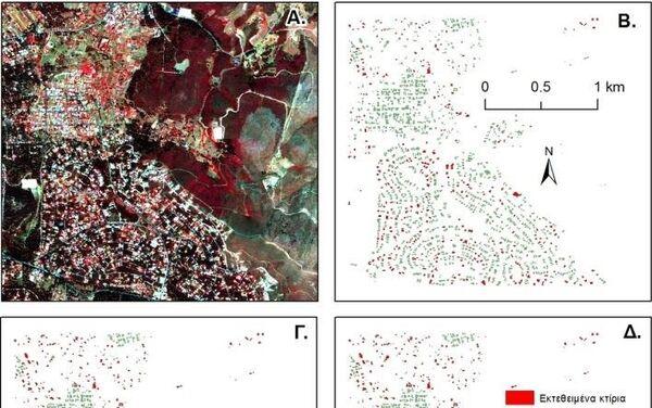 Η αρχική δορυφορική εικόνα (Α) και ανάλυση απειλής από δασικές πυρκαγιές στους οικισμούς της περιοχής μελέτης κάτω από τις τρεις διαφορετικές συνθήκες καύσης (Β/Γ/Δ) - Sputnik Ελλάδα
