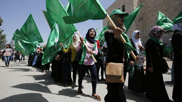 Διαδήλωση υπέρ της Χαμάς στην Παλαιστίνη - Sputnik Ελλάδα