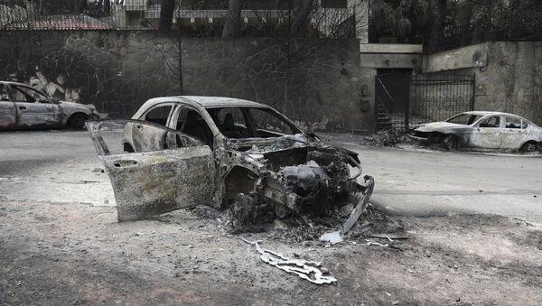 Εικόνα καταστροφής από την πυρκαγιά στην Ανατολική Αττική. - Sputnik Ελλάδα