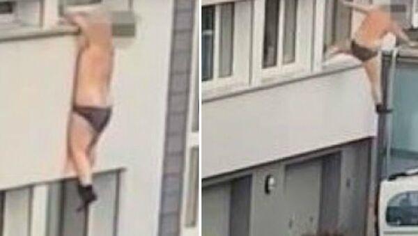 Ημίγυμνος άντρας μόνο με το εσώρουχο πάει να φύγει από το παράθυρο και πέφτει στο κενό - Βίντεο - Sputnik Ελλάδα