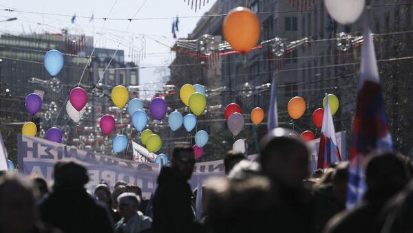 Πορεία στο κέντρο της Αθήνας για το ασφαλιστικό νομοσχέδιο - Sputnik Ελλάδα